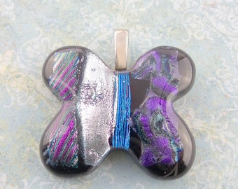 Butterfly Necklace, Purple with Silver Blue Stripe, Dichroic Glass Pendant, Fused Glass Jewelry, Ready to Ship - Butterfly Waltz -3241-4