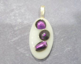 White Fused Glass Pendant, Purple Accents, Necklace Slide, Ready to Ship, Purple Dichroic, Fused Glass Jewelry - Three Sisters- 1574 -5