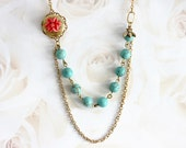 Bee Necklace Vintage Style Bee Flower Necklace Flower Locket Necklace Turquoise Necklace Bridesmaid Gift Coral Flower Necklace