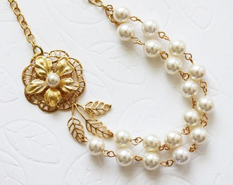 Gold Wedding Necklace,  Gold Wedding Jewelry, Pearl Necklace, Vintage Wedding Jewelry