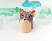 Lavender Fox Figurine, Ceramic Miniature Fox