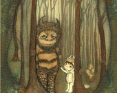 Wild things Print Moishe Art Where The Wild Things Are Children Wall Art Forest Dream Monster Max Carol