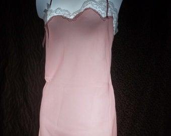 vintage nightgown victoria's secret pink silky liquid satin charmeuse white lace size large lge babydoll chemise lingerie l slip