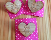 Cat Lady Heart Brooch - Wooden Laser Cut Bamboo Pin