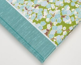 Wedding Guest Book, Journal-Blue Green Cherry Blossom
