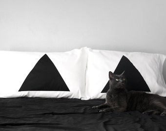 Pyramid Pillowcase Set of 2 : cool modern minimal home decor, apartment, gift for couples, geometric pillow cases, couples gift, triangles