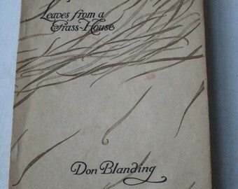 RARE Don Blanding Leaves from a Grass House Poetry Book 1923 Third Edition Hawaii Poetry Woodcut Illustrations John Poole (00487-PB)
