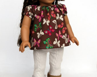 Fits like American Girl Doll Clothes - Chocolate Brown Butterfly Top and Cabled Cream Leggings, Made to Order for AG dolls