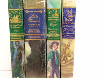 Junior Library Edition, 4, Christmas Gifts, Little Women, Adventures of Tom Sawyer, Hans Brinker, Swiss Family Robinson, Childrens Books