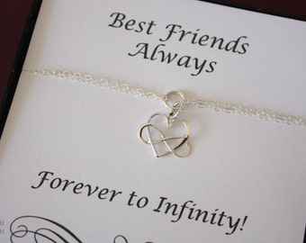 Infinity Best Friend Bracelets, Infinity heart charm, Bridesmaid Gift, Sterling Silver, Silver Infinity Bracelet, Card
