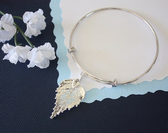 Silver Leaf Bangle Birch, Real Leaf Bracelet, Silver Birch, Sterling Silver, Leaf Bangle, Bracelet, Bridesmaid Gift, Gift, Aspen