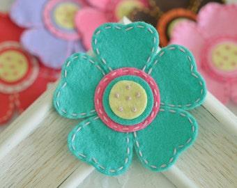 New! Handmade large felt flower-tro. turquoise (FT824)