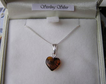 Gorgeous Baltic Amber Heart Necklace On Sterling Silver Chain -SMALL