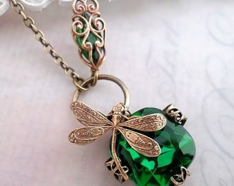 Emerald green dragonfly necklace,  Art Nouveau asymmetrical necklace, dragonfly jewelry, dragonfly pendant necklace, filigree jewelry, bug