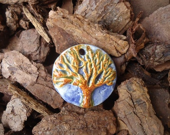 Blue Marble and Golden Brown Tree of Life Stoneware Pendant