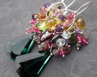 Green amethyst earrings in sterling silver - garnet, peridot, citrine, aquamarine - gemstone jewelry - long beaded dangle - statement