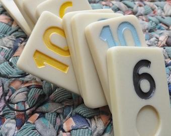Lot of 10 Vintage Game Pieces Vintage Number Blocks Vintage Dominoes Retro Game Parts