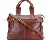Leather Handbag Purse Tote, distressed vintage leather