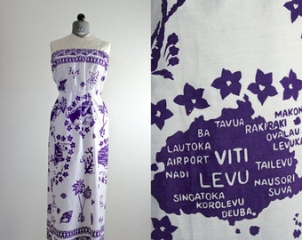 Strapless Dress • Tropical Dress • Vintage Sundress • Strapless Sundress • Map Print Dress • Summer Dress • Sleeveless Dress • Fiji Dress