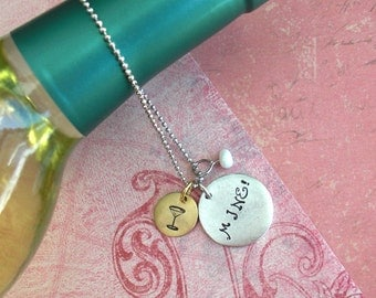 Wine Bottle Charm Dangle .. Double Discs mini + medium tags + pearl ..Perfect hostess gift .. holiday party classic! Customize word monogram