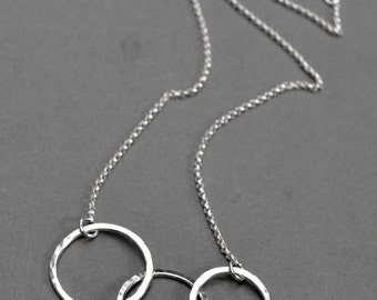 3 Circle Necklace -  Sterling Silver Interlocked Rings Argentium Sterling Eternity Necklace Asymmetrical Mothers Day