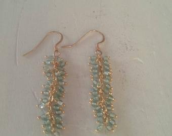 Aquamarine Stone Gold Filled Earrings