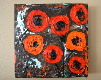 Abstract Red and Orange Poppies Original Oil Painting