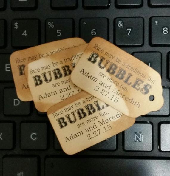 """Bubbles are more fun SMALL 2"""" Favor Tag Choose your quantity"""