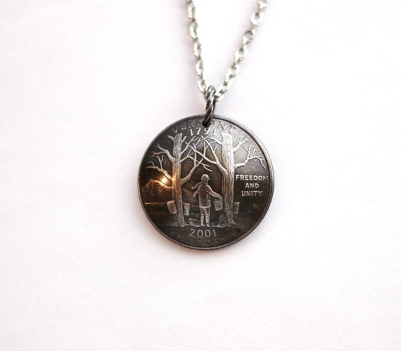 domed coin necklace vermont state quarter pendant by hendywood