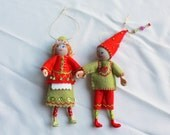 Felt Art Doll Hanging Ornament, Elf Piksee in Red and Green