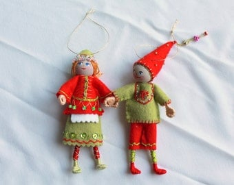 Felt Art Doll Hanging Ornament, Elf Piksee in Red and Green, Handmade Felt Elf