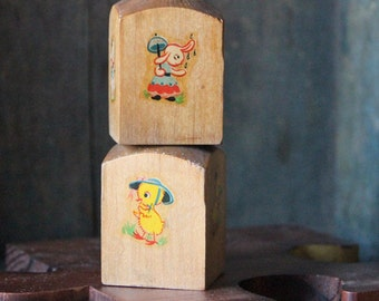 Vintage Rabbit Chick Duckling Wooden Salt and Pepper Shakers - Mid Century - Decal Images - Kitsch