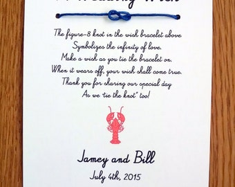 You're My Lobster - A Wedding Wish - Infinity Knot Wish Bracelet Wedding Favor Custom Made for You