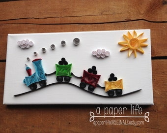 quilled paper train on canvas - 'Jimmy CHOO CHOO'