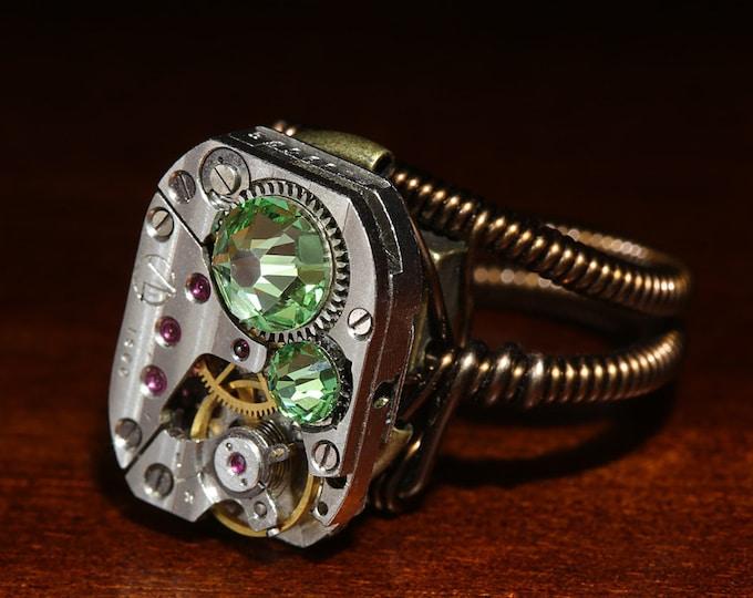 Steampunk Jewelry - Ring - Peridot Svarovski Crystal