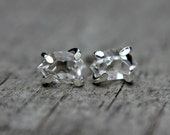 Raw herkimer diamond earrings - sterling silver - quartz studs - herkimer stud earrings - crystal earrings