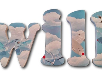 Airplanes Custom Wood Wooden Hanging Nursery Hand Painted Wall Letters Airplanes Nursery Wall Decor