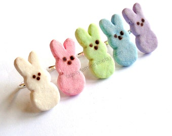 Marshmallow Bunny Ring Easter Ring Pastel Candy Ring Miniature Food Jewelry Kawaii Ring