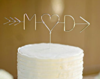 CUPID'S ARROW: Custom Initials Wedding Cake Topper