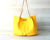 Tote Bag, Large Purse, Diaper Bag, Bright Yellow, Shiny Yellow, Hanbag, Bag, Genuine Leather Handles, Large Bag, Oversize Bag, Everyday Tote