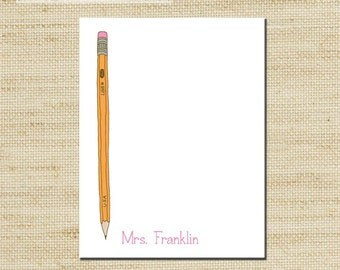 Teachers Notepad, Note pad Personalized Notepad, Note Sheets, Custom Notepad with Teachers Pencil