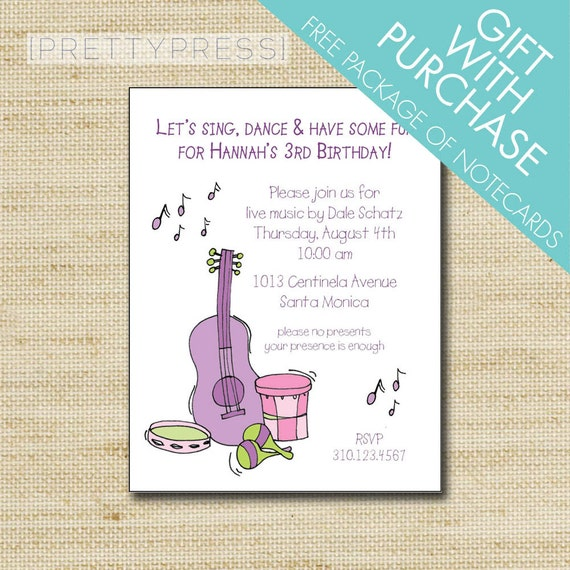 Music Invitation Music Party Invitations Kids Music Party