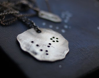customizable sterling silver constellation necklace (choose your constellation - custom order) - necklace and mini painting