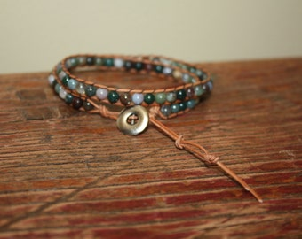Double-Wrap LEATHER & BEAD Bracelet - 4mm Glass Beads, Earthtones,Tan Leather Cord - Darling Gift!