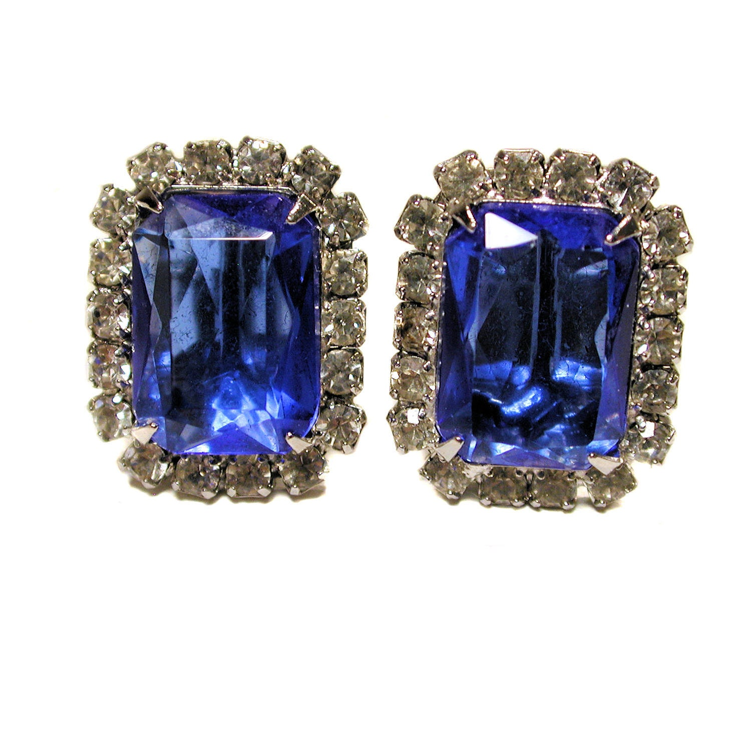 vintage titanic blue earrings sapphire glass by