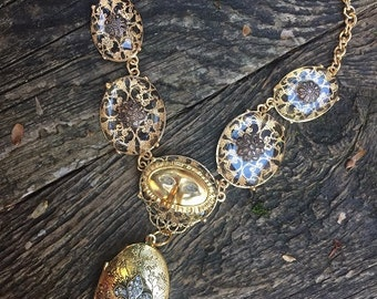 Steampunk Fantasy Victorian French Crystal Locket Necklace