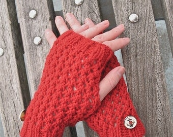 Miss Sailorette | Hand Knit Fingerless Gloves Hand Warmers in Red Merino Wool with Anchor Buttons Lace Knit Handmade Ready to Ship
