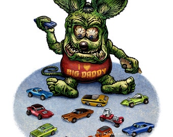 Hot Wheels 11 x 14 Signed Print -Rat Fink Playing with Hot Wheels Cars