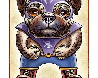 """El Cabezon Mortal (Deadly Big Head)- 8"""" x 10"""" Pug Lucha Libre Wrestler"""
