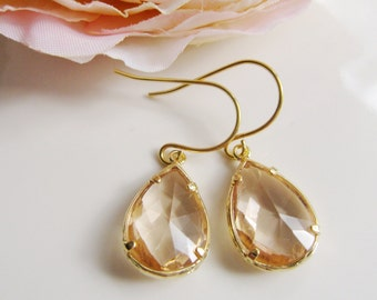 Pink Champagne Earrings, Peach Glass Teardrop, Gold Edge Dangles, Bridesmaid Earrings, Wedding Jewelry